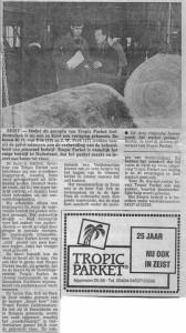 Kranten artikel start Tropicparket Zeist foto bomen keuren